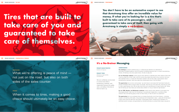 """Sample text, such as """"Tires that are build to take care of you and guaranteed to take care of themselves."""""""