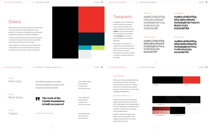Example of brand guidelines that show color, typography, and type choices for headers, captions, and body copy.