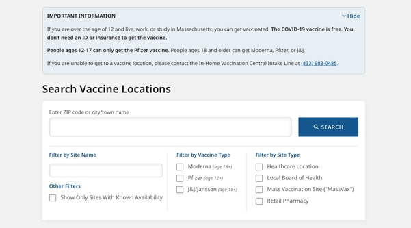 Screenshot of Vaxfinder.mass.gov UI including inputs for filtering by ZIP Code, city/town name, site name, vaccine type, site type, and known availability.