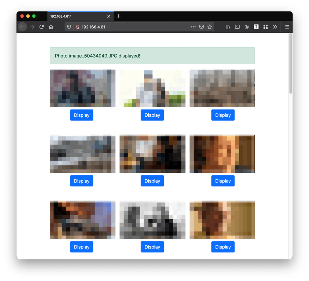 Simple web interface showing a grid of photos