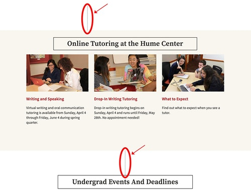 Stanford's undergraduate information showing stylized vertical lines breaking up the information before and after content about online tutoring at the Hume Center.