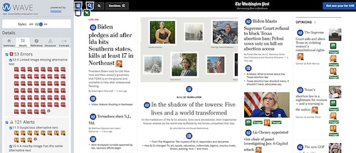The WAVE Web Accessibility Evaluation Tool showing the more detailed errors and alerts for the Washington Post homepage.