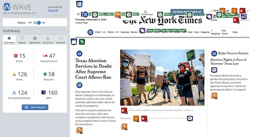 The WAVE Web Accessibility Evaluation Tool showing the errors, alerts, structural elements, contrast errors, features, and accessible rich internet applications (ARIA) code for the New York Times homepage.