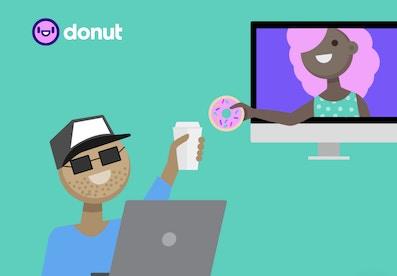 Cartoon image of people using the donut app