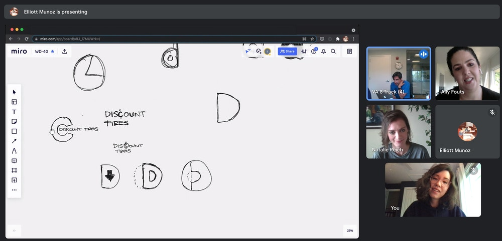 A screenshot of a Google Meet. An art director is sharing his screen, with some sketched out logos for Discount Tires.