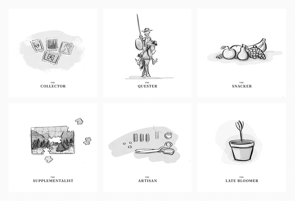 A grid of six illustrations — one for each persona. The illustrations are: Stamps for the Collector, a knight on a horse for the Quester, a bunch of fruit for the Snacker, a puzzle for the Supplementalist, a sewing kit for the Artisan, and a pot with a single tulip for the Late Bloomer