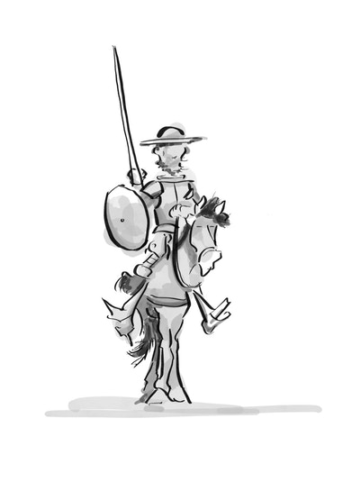 A black and white illustration of a knight on a horse, carrying a spear and a shield, and looking like his name might be Don Quixote.