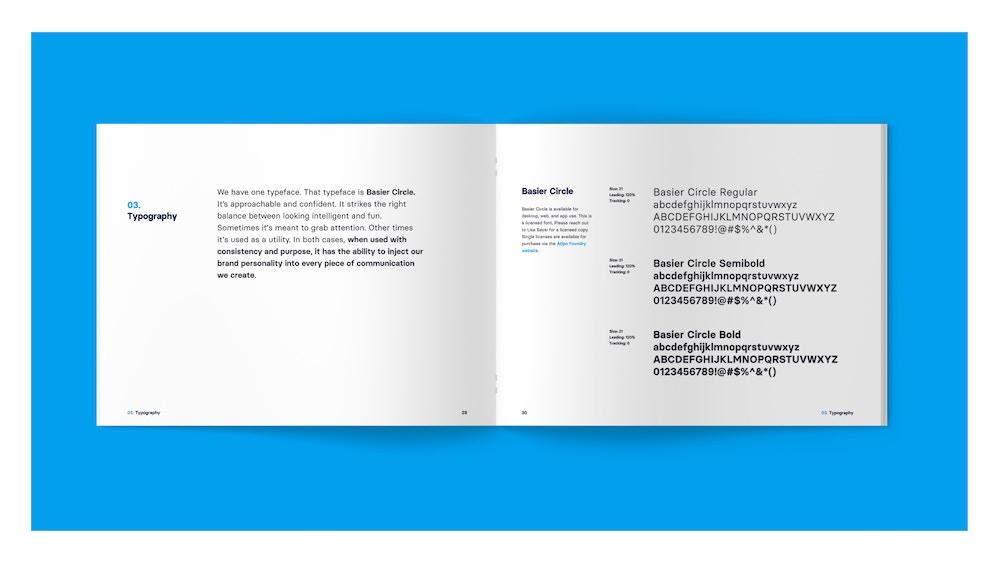 A spread from the Wondrium brand book showcasing the Wondrium typeface, Basier Circle.