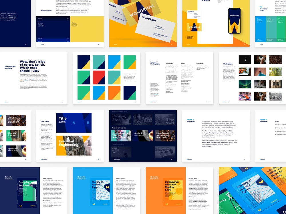 Multiple page spreads from the Wondrium Brand Book.
