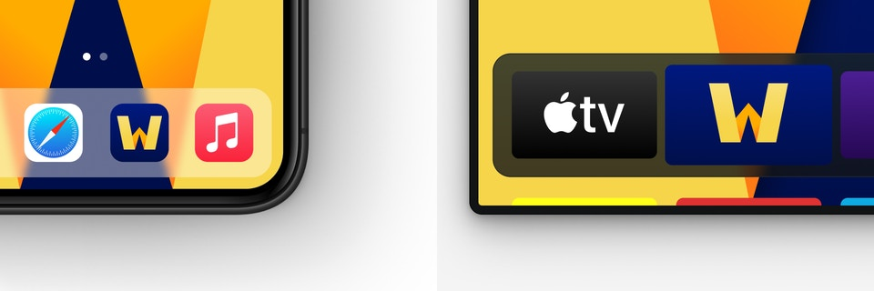 The Wondrium app icons for iPhone and TV