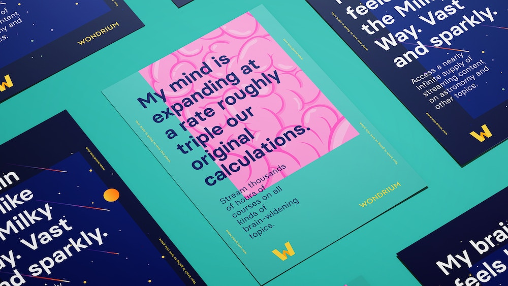 """Promotional posters for Wondrium, including a poster with a brain illustration and the headline """"My mind is expanding at a rate roughly triple our original calculations."""""""