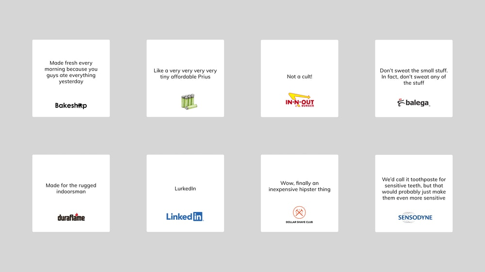 A group of six cards with headlines for various brands